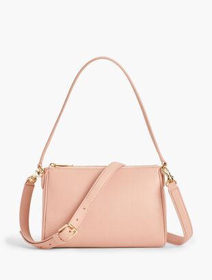 Two-Way Pebble Leather Crossbody Bag