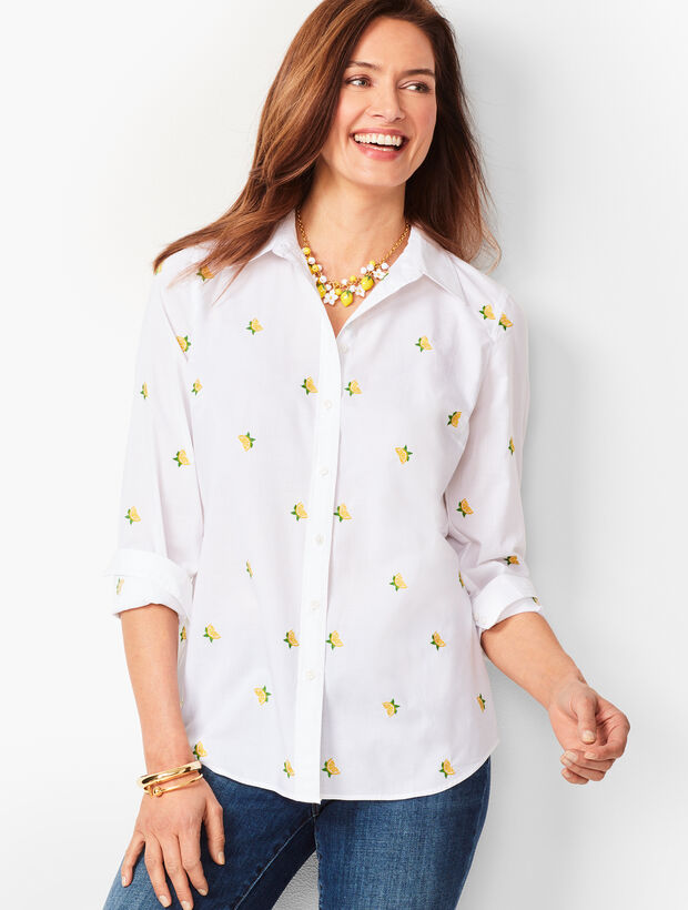 Classic Cotton Shirt - Embroidered Lemons