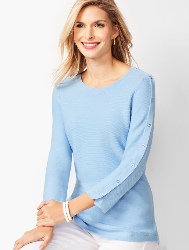 Button-Sleeve Sweater - Solid