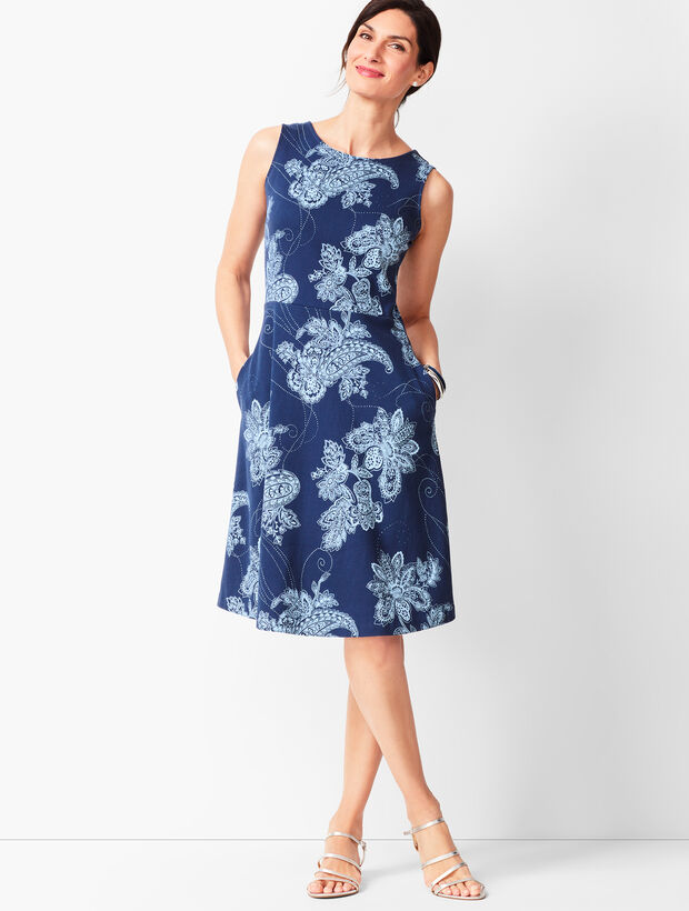 Edie Knit Fit & Flare Dress - Paisley