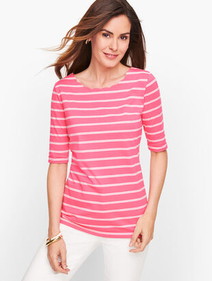 Scallop Neck Tee - Stripe