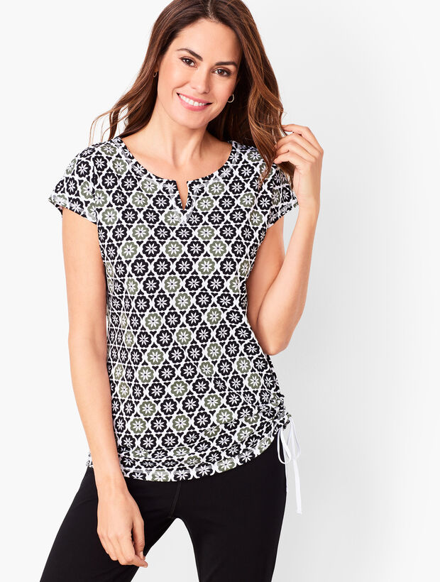 Side-Cinched Tee - Geo Blossom