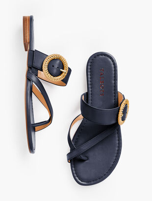 Gia Rattan Buckle Sandals - Nappa