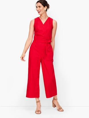 Tie-Front Jumpsuit- Poplin