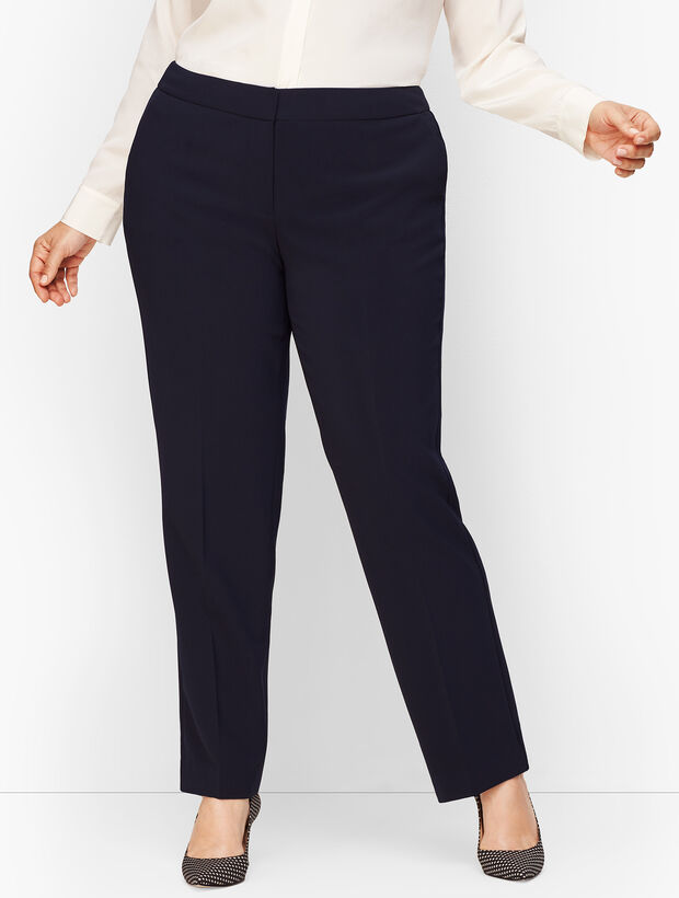 Stretch Crepe Straight Leg Pants