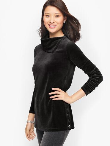 Velour Cowlneck Sweater