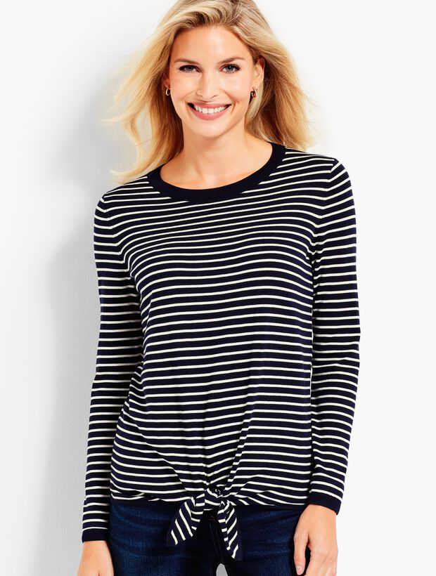 Tie-Front Sweater-Striped