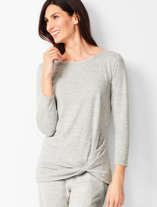Brushed Mélange Twist-Front Top