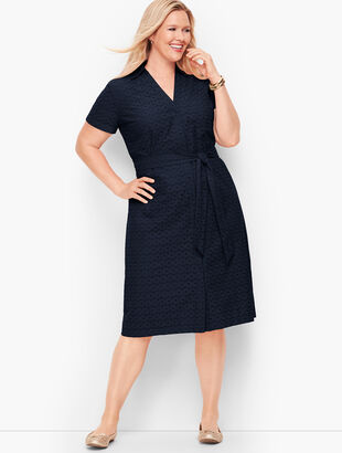Plus Size Eyelet Tie-Front Shirtdress