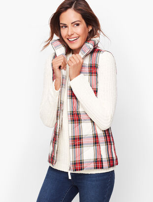 Down Puffer Vest - Plaid