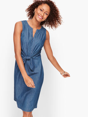 Denim Tie Front A-Line Dress