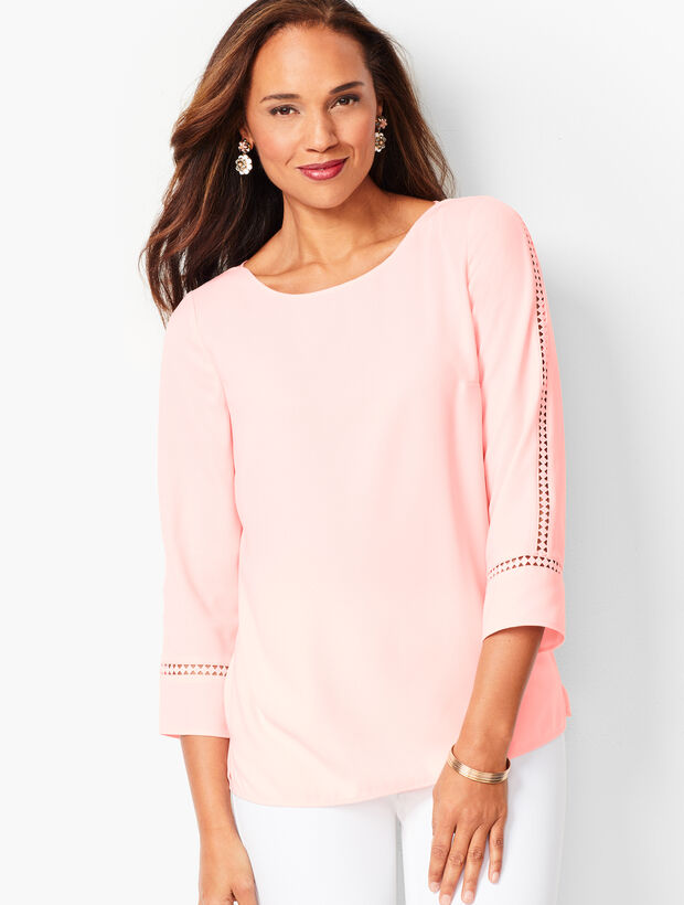 Lace-Sleeve Crepe Popover