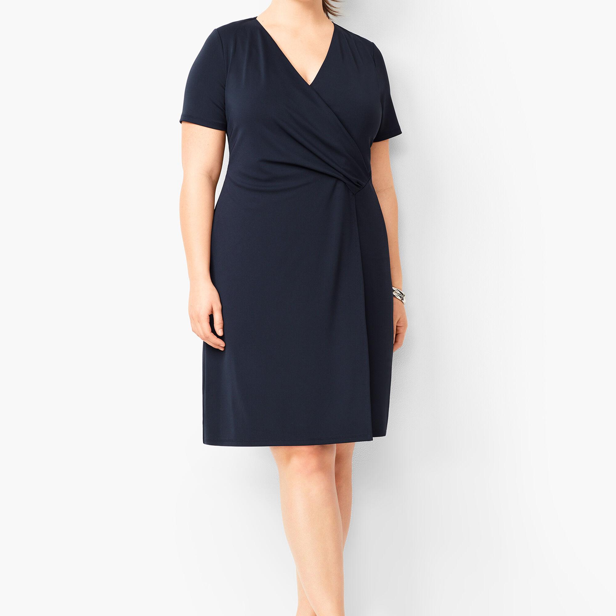 Plus Size Knit Jersey Faux-Wrap Dress | Talbots