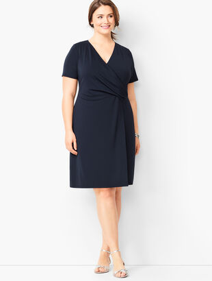 Plus Size Knit Jersey Faux-Wrap Dress