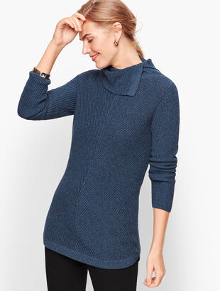 Chevron Stitch Split Neck Sweater - Marled