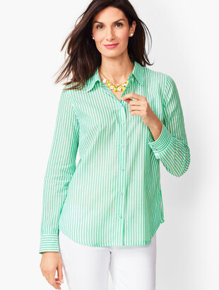 Classic Cotton Shirt - Ocean Stripe