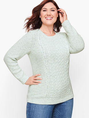 Mixed Cableknit Sweater - Tweed