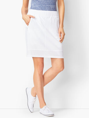 Lightweight Stretch Woven Perforated-Trim Skort
