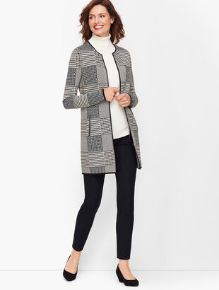Double Knit Plaid Open Sweater