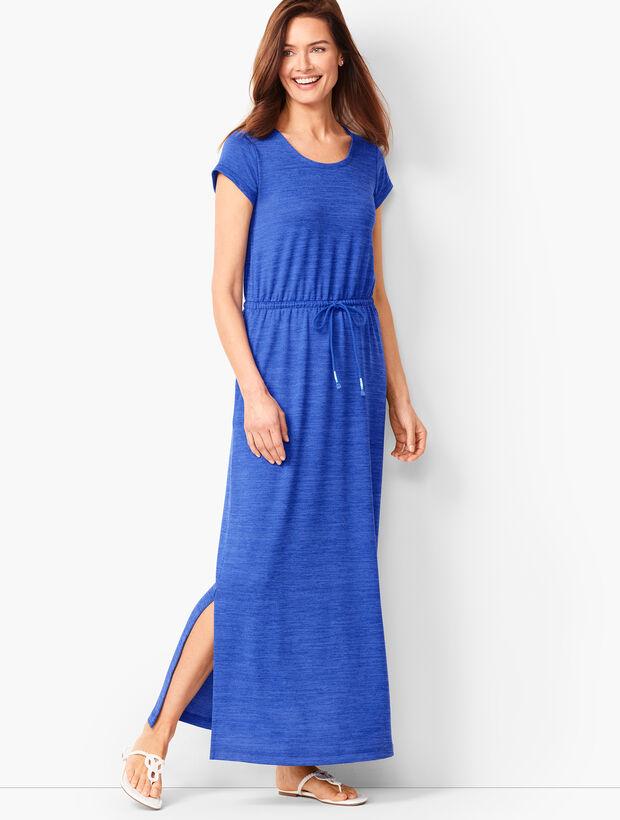 Soft-Drape Jersey Drawstring Maxi Dress