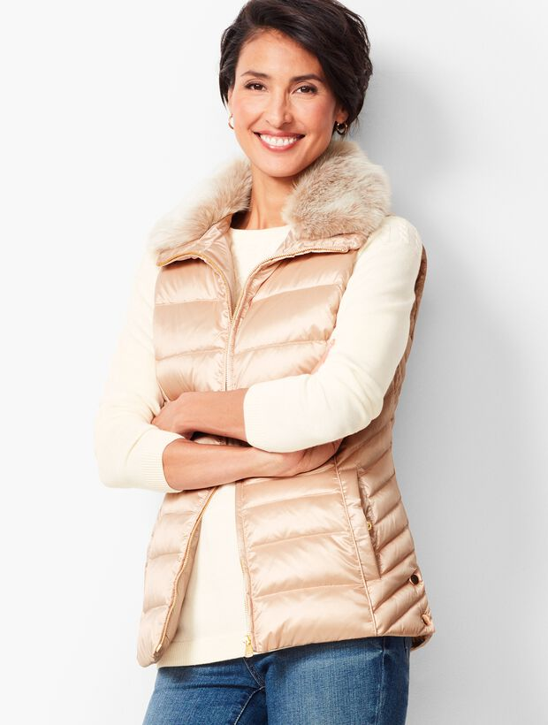 Down Fur-Collar Puffer Vest - Metallic