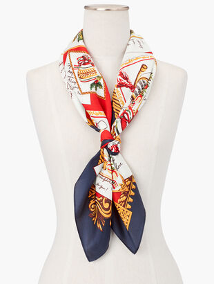 Holiday Postcard Silk Square Scarf