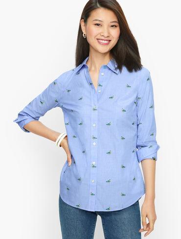 Cotton Button Front Shirt - Mallard Duck