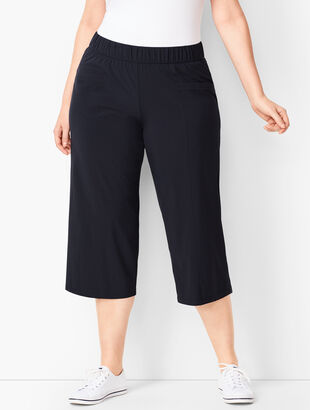Lightweight Stretch Woven Culotte Pants