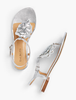 Keri Nappa Leather Flower Sandals - Metallic