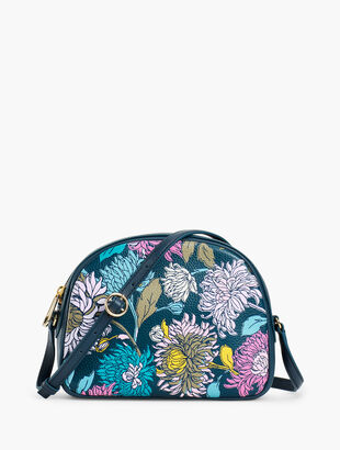 Half Moon Crossbody Bag - Pebbled Leather Floral