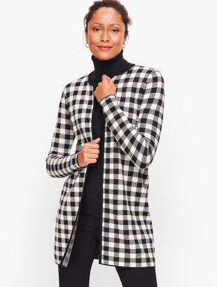 Buffalo Check Plaid Sweater Jacket