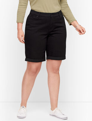 Plus Size Exclusive Girlfriend Denim Shorts - Black