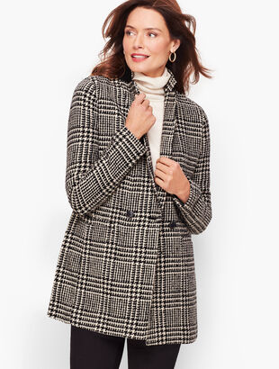 Long Boiled Wool Jacket - Plaid