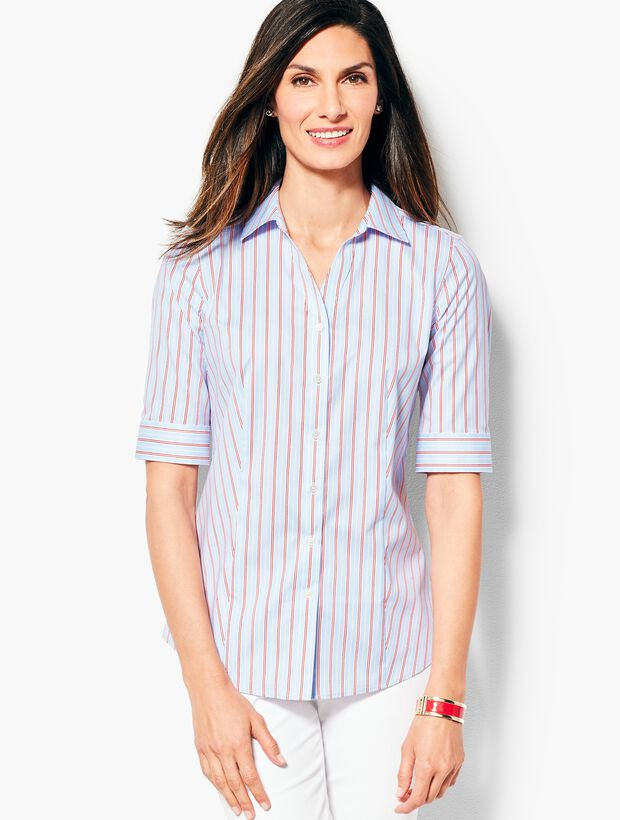 The Perfect Elbow-Sleeve Shirt - Double-Stripe