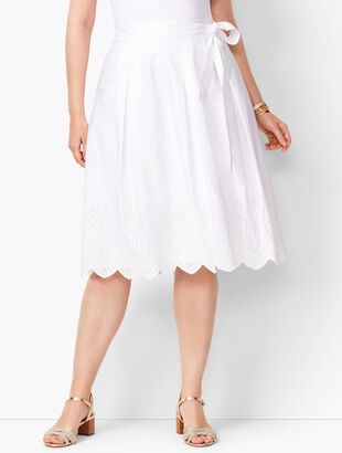 Pleated Floral Eyelet Skirt