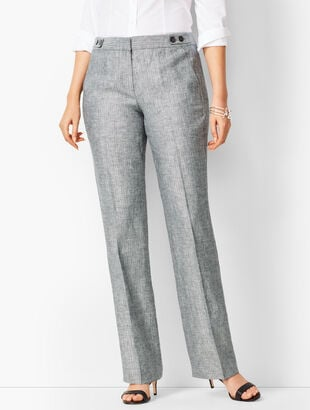 Talbots Windsor Linen Wide-Leg Pants - Curvy Fit/Herringbone