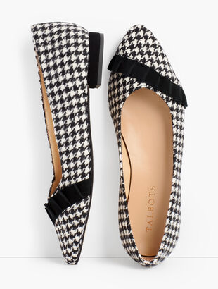 Edison Pleated Flats - Houndstooth