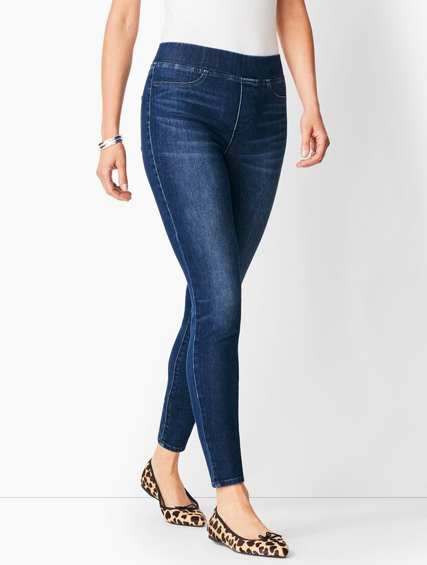 Sculpt Pull-On Denim Jeggings - Oleander Wash