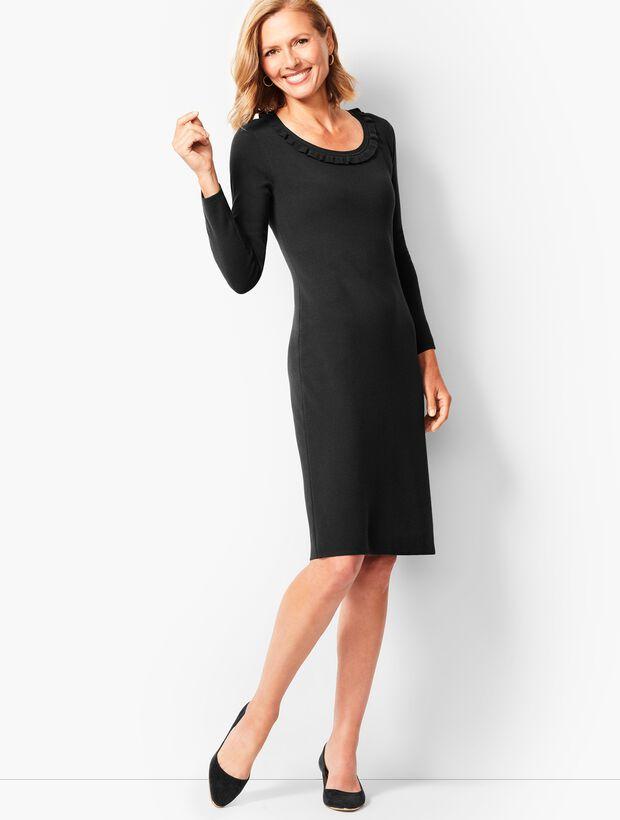 Jewel-Neck Sweater Shift Dress