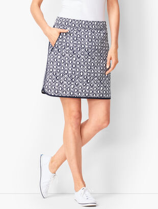 Lightweight Stretch Woven Skort - Geo Print