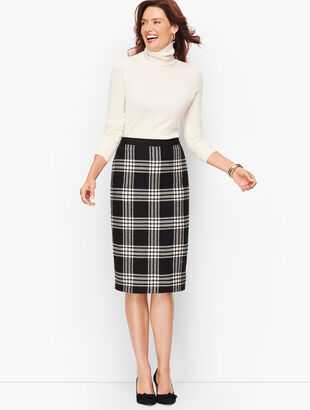 Plaid Sparkling Pencil Skirt