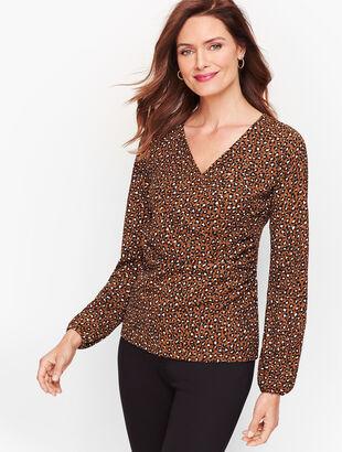 Faux Wrap Crepe Top - Leopard