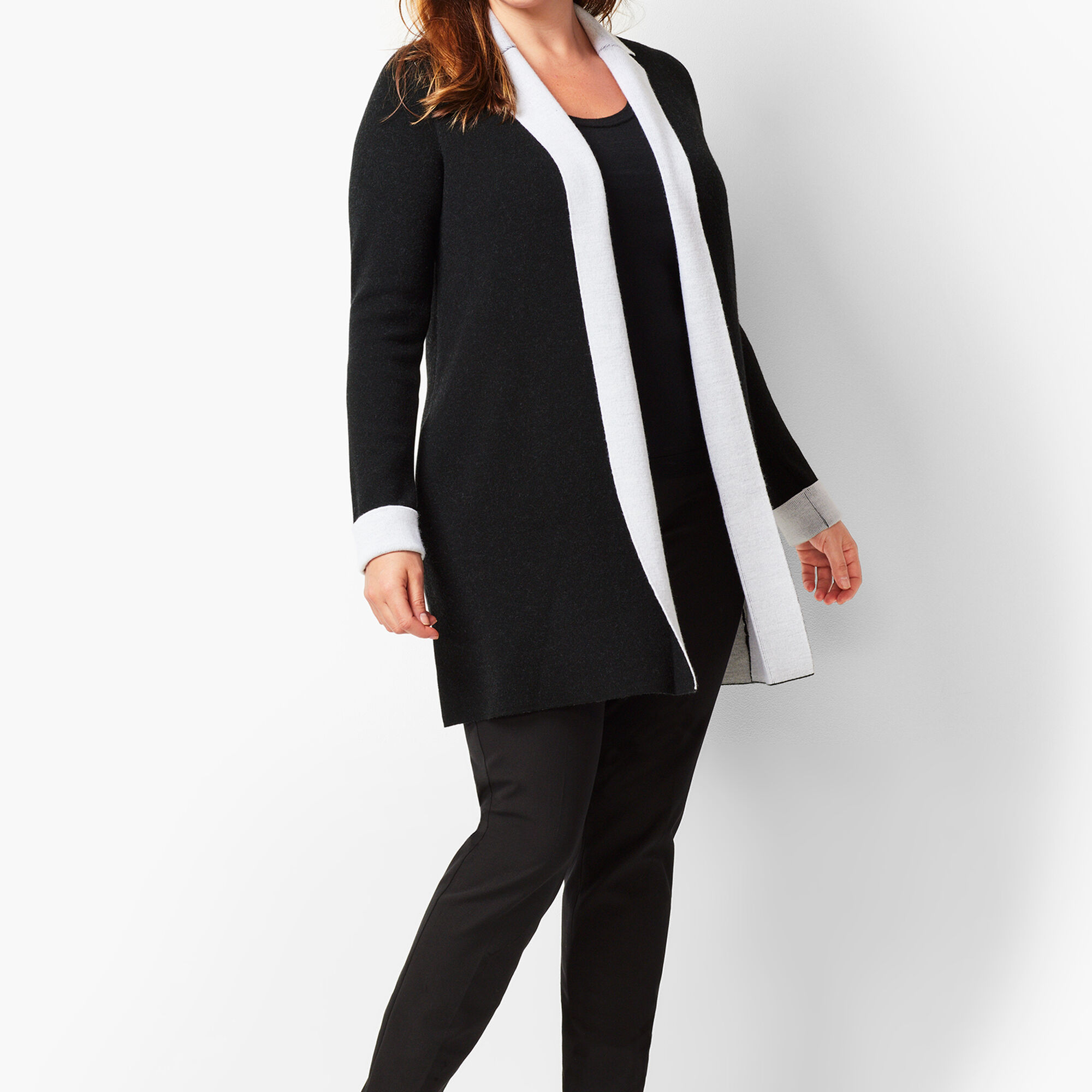 f31e17f0effa Plus Size Merino Double-Knit Cardigan Opens a New Window.