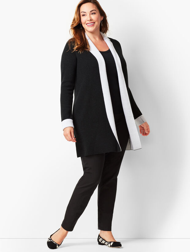 Plus Size Merino Double-Knit Cardigan