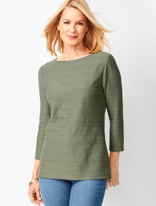 Cotton Bateau-Neck Top - Braided Stripe
