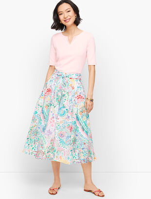 Festive Floral Pleated Midi Skirt