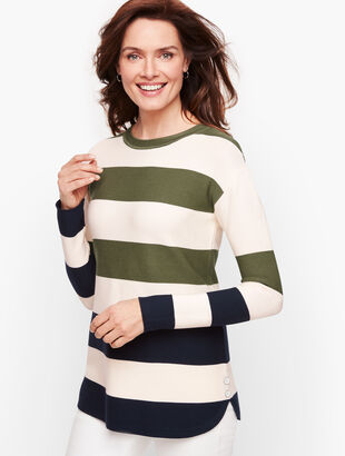 Button Detail Sweater - Stripe