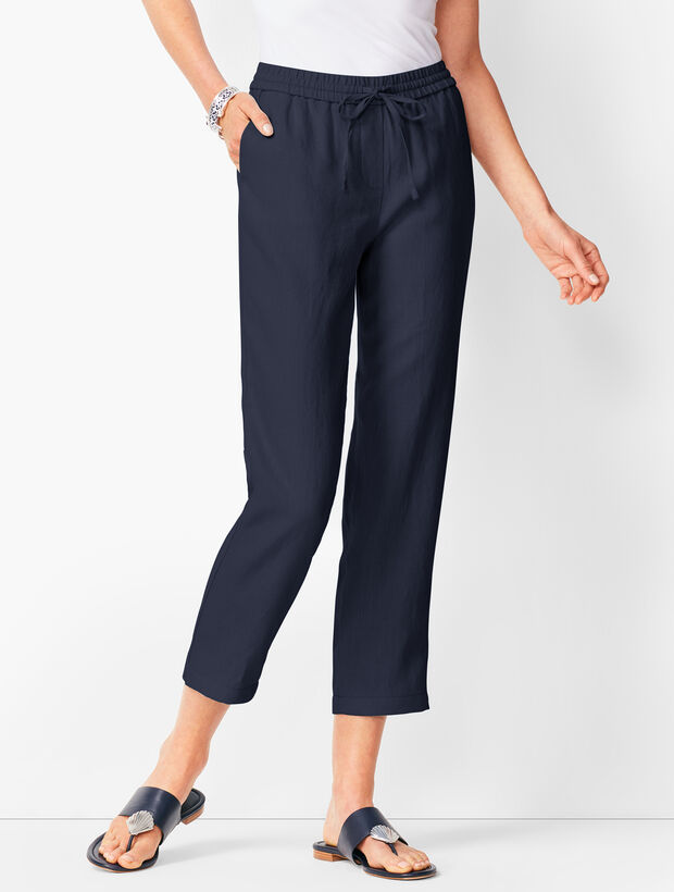 Washed Linen Pull-On Crops
