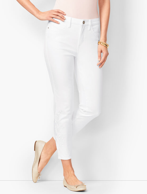 Denim Jegging Crops   Embroidered White by Talbots