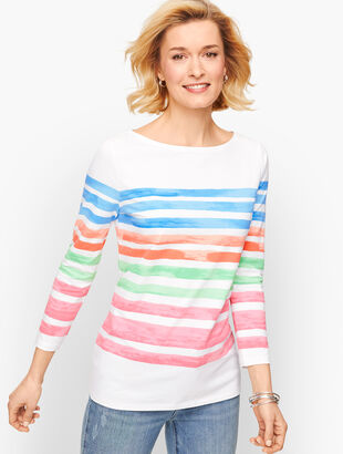 Cotton Bateau Neck Tee - Painted Stripe